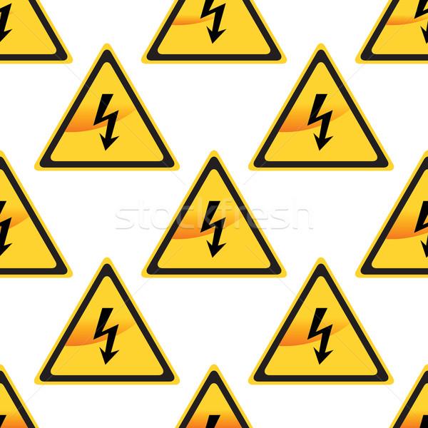 Hoogspanning teken patroon afbeelding bouw behang Stockfoto © ylivdesign