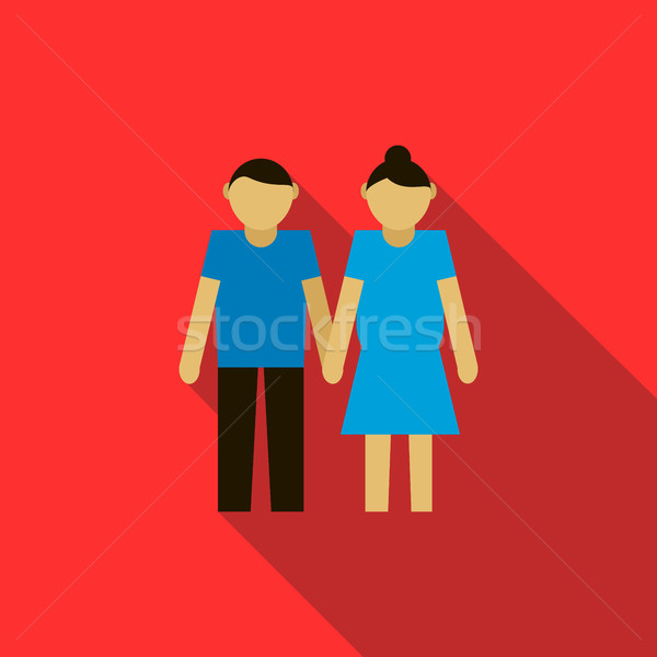 Fiatal pér ikon stílus piros lány férfi Stock fotó © ylivdesign