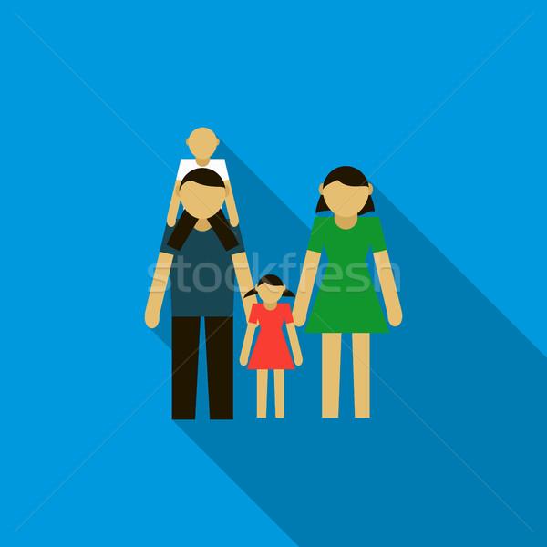 Familie icon stijl Blauw vrouw meisje Stockfoto © ylivdesign