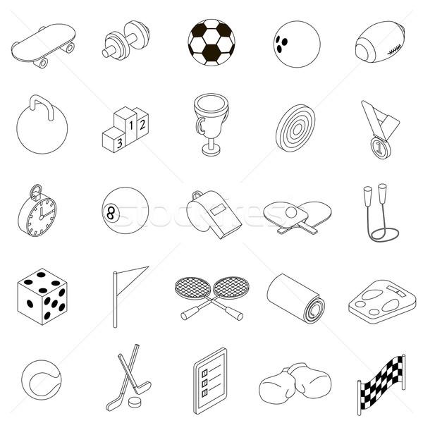 Sport icons set, isometric 3d style  Stock photo © ylivdesign