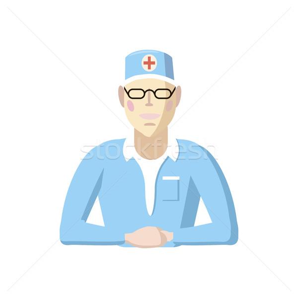Orvos ikon rajz stílus fehér férfi Stock fotó © ylivdesign