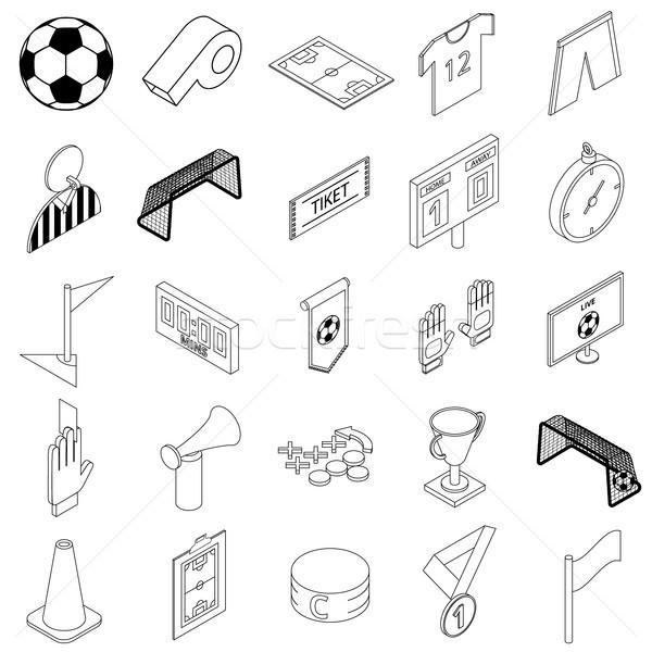 Futbol izometrik 3D stil beyaz Stok fotoğraf © ylivdesign