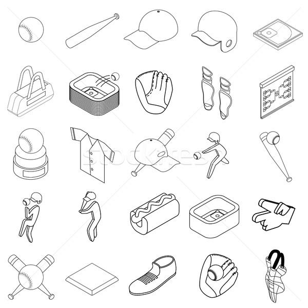 Stock fotó: Baseball · ikon · szett · izometrikus · 3D · stílus · fehér