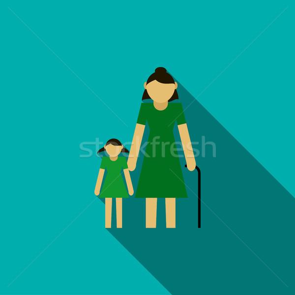 祖母 孫娘 アイコン スタイル 青 笑顔 ストックフォト © ylivdesign