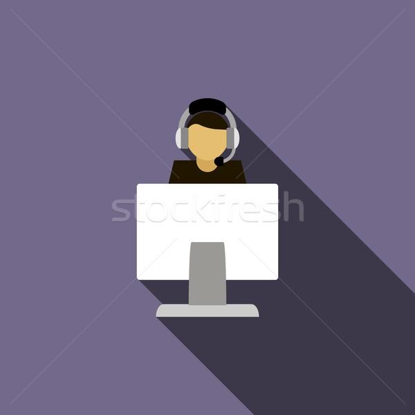 Call center exploitant hoofdtelefoon icon computer icoon stijl Stockfoto © ylivdesign