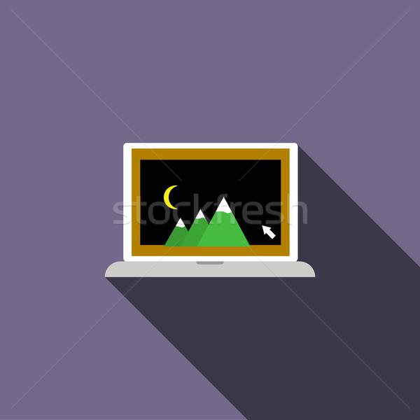 Laptop with photo icon, flat style Stock photo © ylivdesign