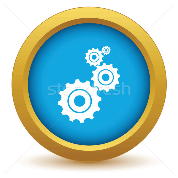 Goud mechanisme icon witte klok werk Stockfoto © ylivdesign