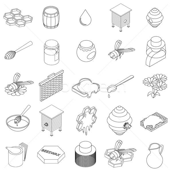 Beekeeping icons set, isometric 3d style Stock photo © ylivdesign