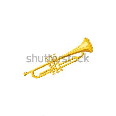 Messing trompet icon cartoon stijl witte Stockfoto © ylivdesign