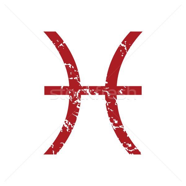Red grunge Pisces logo Stock photo © ylivdesign