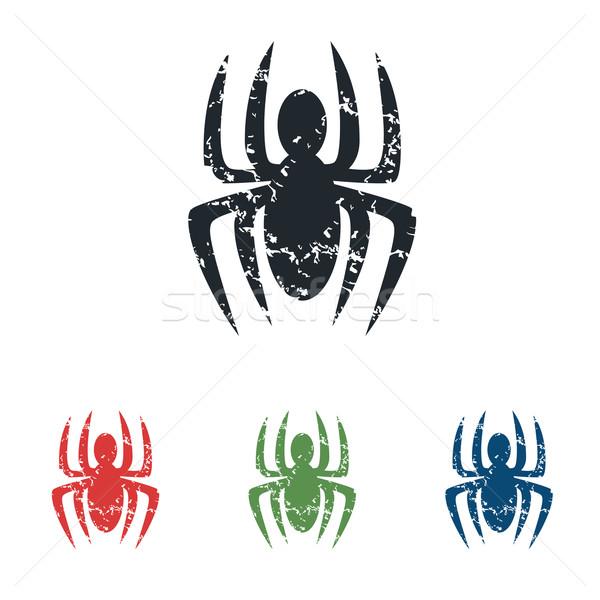 Spider grunge icon set Stock photo © ylivdesign