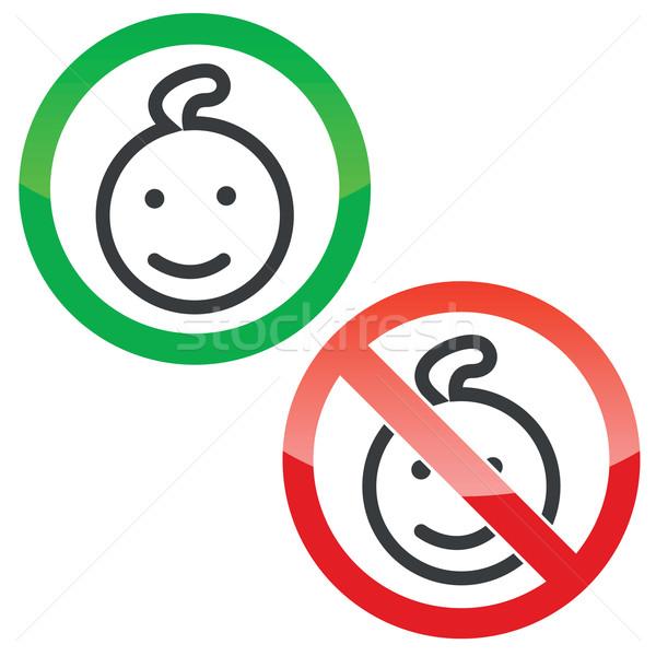 Criança permissão sinais conjunto permitido proibido Foto stock © ylivdesign