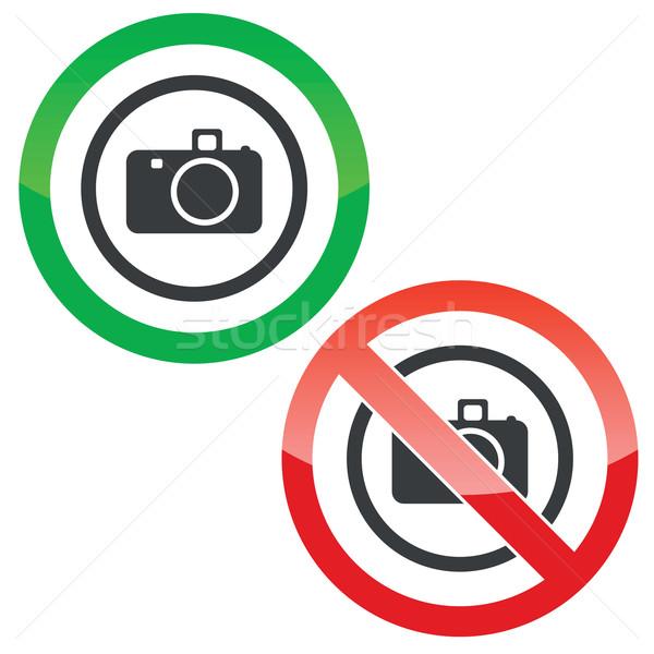 Câmera permissão sinais permitido proibido círculo Foto stock © ylivdesign