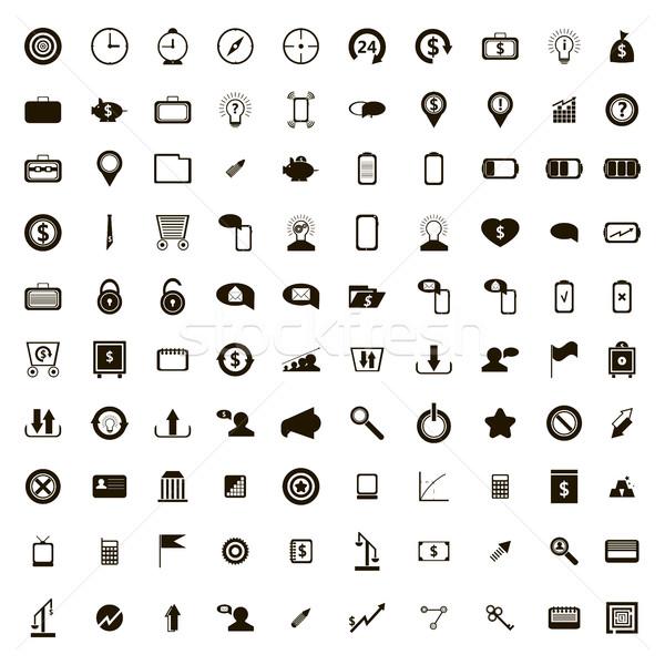 100 Интернет иконы набор простой стиль белый Сток-фото © ylivdesign