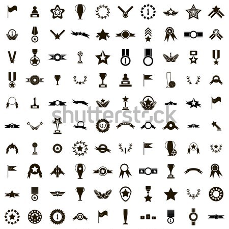 100 aviation icons set, simple style Stock photo © ylivdesign