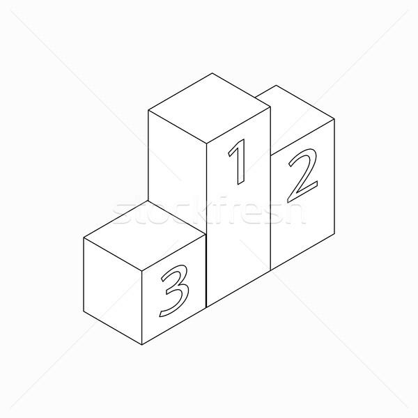 Nyertesek pódium ikon izometrikus 3D stílus Stock fotó © ylivdesign