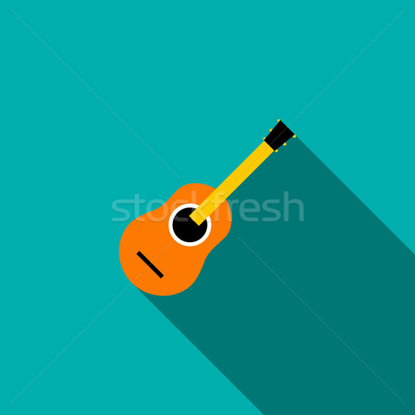 Classical guitar icon, flat style Stock photo © ylivdesign