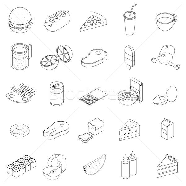 étel ikon szett izometrikus 3D stílus fehér Stock fotó © ylivdesign