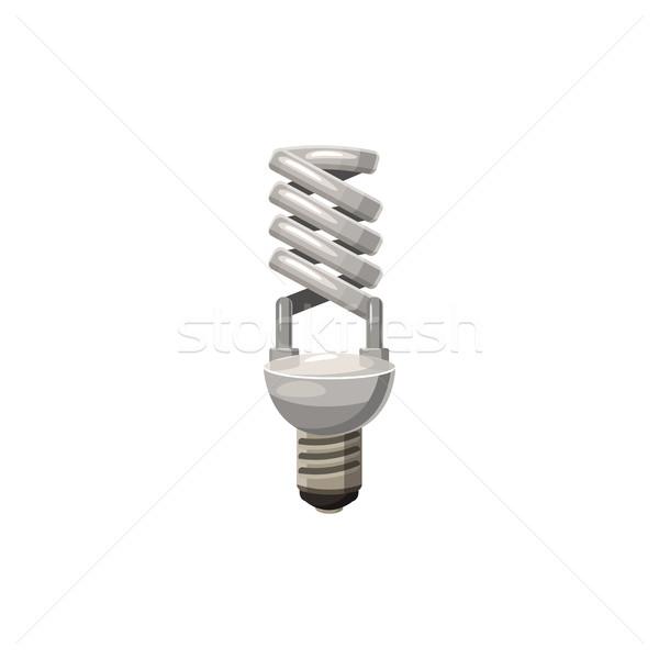 Efficient powersaving bulb icon, cartoon style Stock photo © ylivdesign