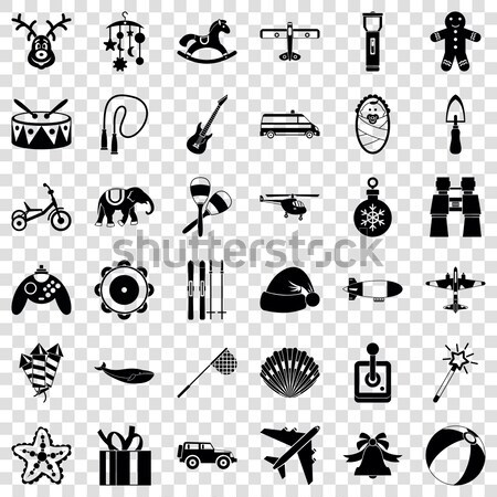 100 military icons set, simple style Stock photo © ylivdesign