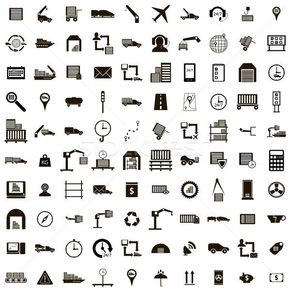 100 logistiek eenvoudige stijl geïsoleerd Stockfoto © ylivdesign