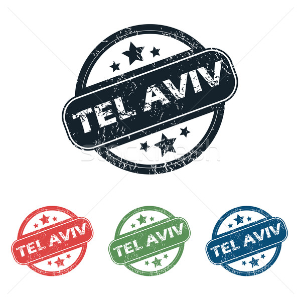 Round Tel Aviv stamp set Stock photo © ylivdesign