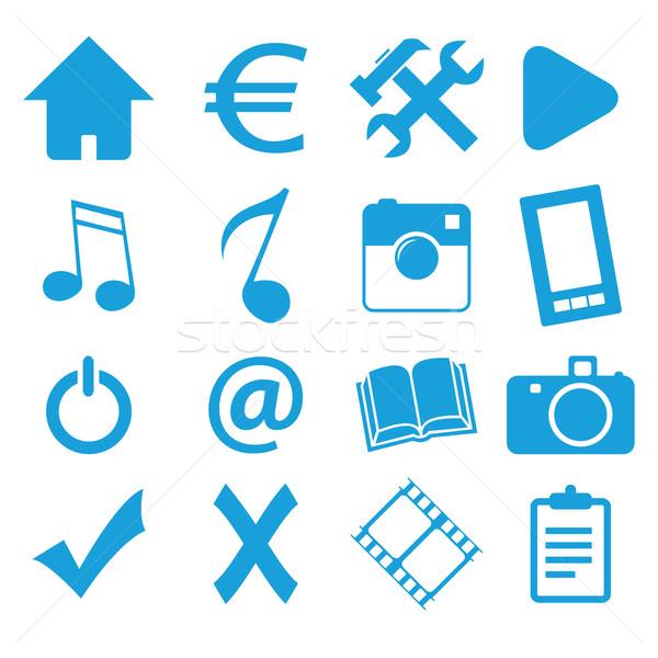 Webdesign kék ikon szett izolált fehér üzlet Stock fotó © ylivdesign