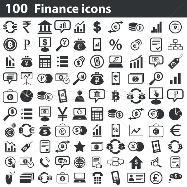 100 finance icons set Stock photo © ylivdesign