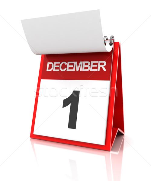 Első december naptár 3d render idő piros Stock fotó © ymgerman