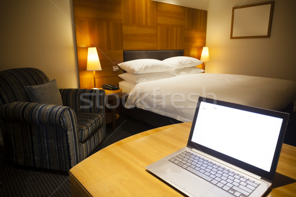 Laptop in a luxurious hotel room Stock photo © ymgerman