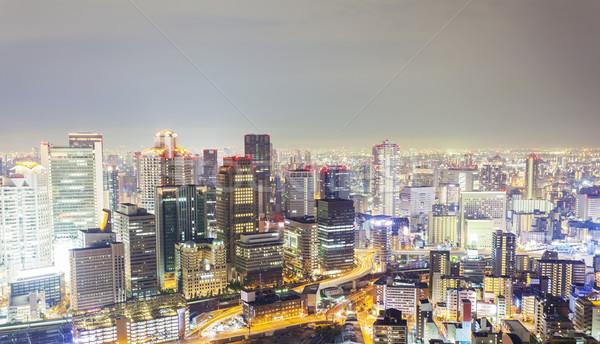 Ufuk çizgisi Osaka Japonya gece iş ofis Stok fotoğraf © ymgerman