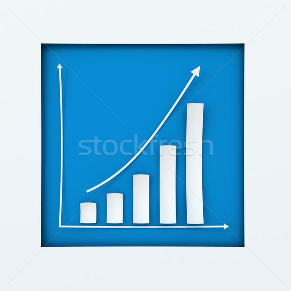 Emelkedő papír oszlopdiagram 3d render fehér terv Stock fotó © ymgerman