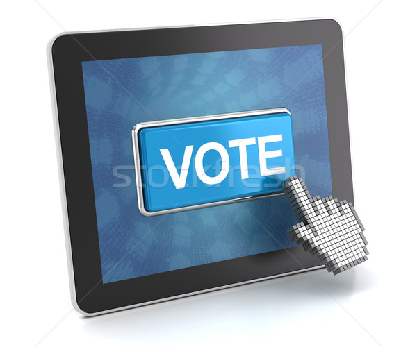 Clicking the vote button on a digital tablet, 3d render Stock photo © ymgerman