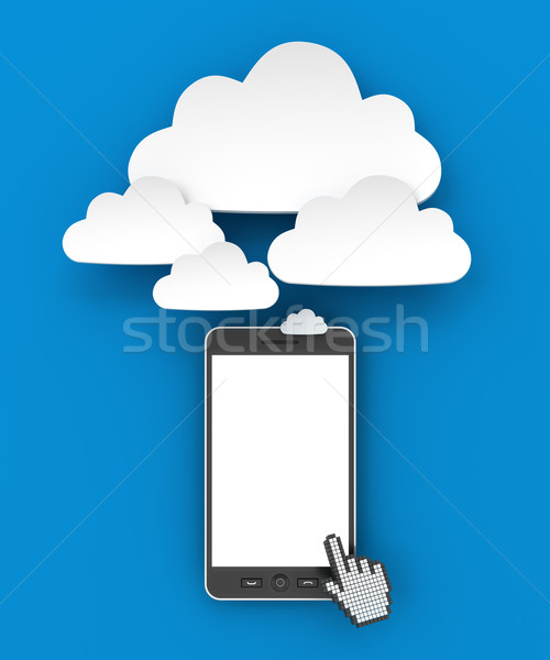 Smartphone connecting to cloud with copyspace, 3d render Stock photo © ymgerman
