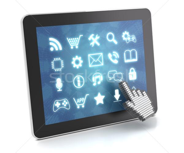 Tablet dokunmatik ekran arayüz 3d render beyaz bilgisayar Stok fotoğraf © ymgerman