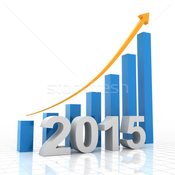 2015 成長 グラフ 3dのレンダリング 背景 矢印 ストックフォト © ymgerman