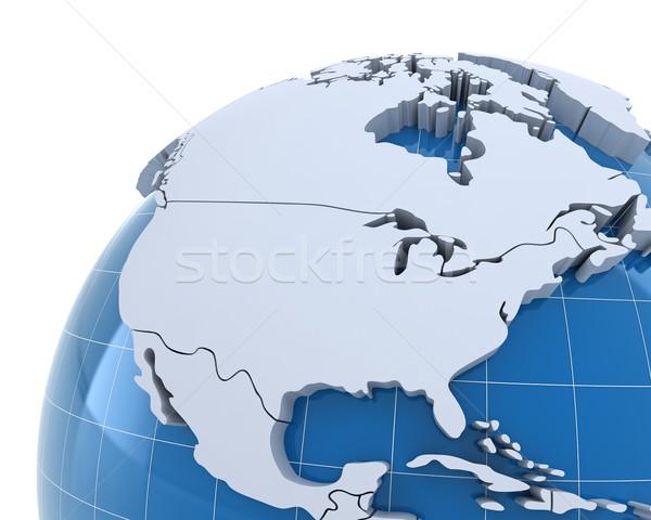 世界中 クローズアップ 米国 カナダ 3dのレンダリング 地図 ストックフォト © ymgerman