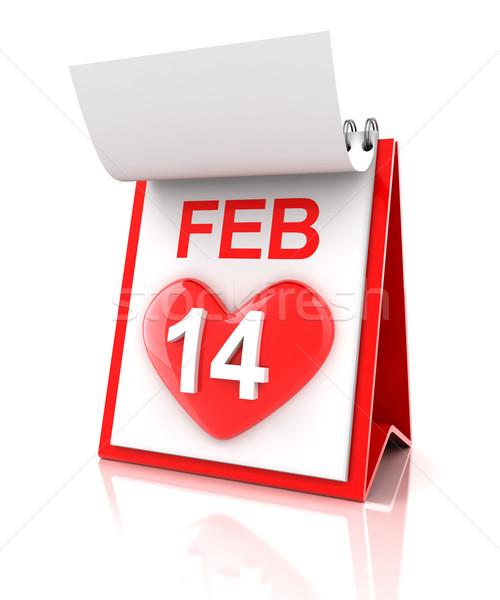 Sevgililer günü takvim 3d render sevmek kalp plan Stok fotoğraf © ymgerman