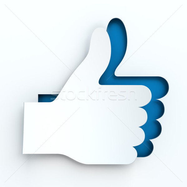 Paper thumbs up sign, 3d render Stock photo © ymgerman