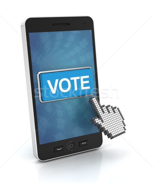 Clicking the vote button on a smartphone, 3d render Stock photo © ymgerman