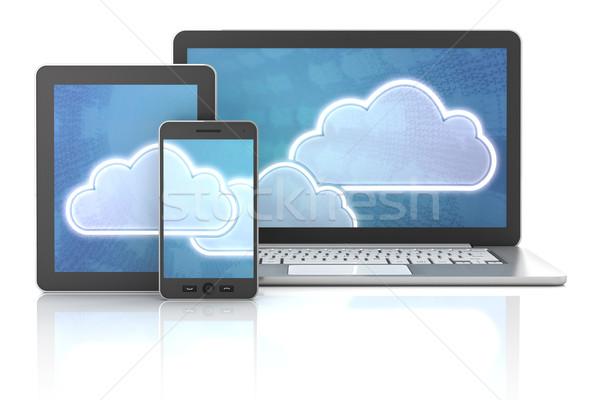 Cloud symbols on gadgets Stock photo © ymgerman