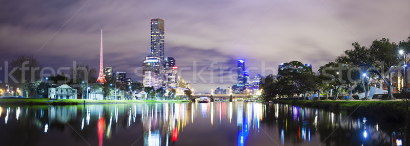 Skycrapers along the Yarra River in Melbourne Stock photo © ymgerman