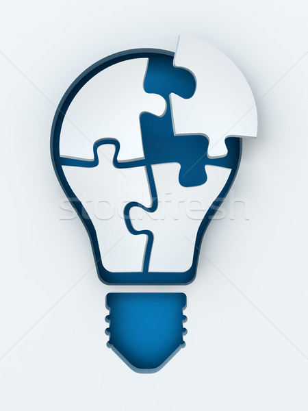 Light bulb paper cut with puzzles and copyspace, 3d render Stock photo © ymgerman