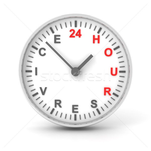 Clock with 24 hour service text, 3d render Stock photo © ymgerman