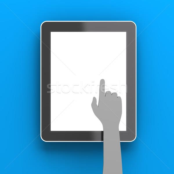 紙 手 デジタル タブレット コピースペース 3dのレンダリング ストックフォト © ymgerman