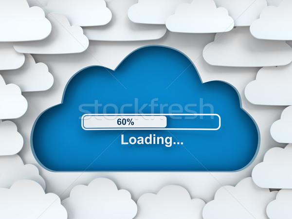 Bulut simge ilerleme bar 3d render kâğıt Stok fotoğraf © ymgerman
