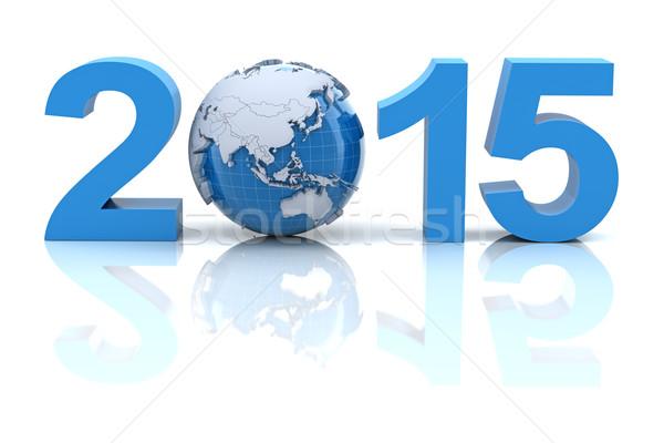 Новый год 2015 мира 3d визуализации дизайна земле Сток-фото © ymgerman