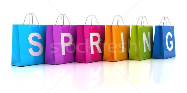 Bahar satış alışveriş çantası 3d render çanta hediye Stok fotoğraf © ymgerman