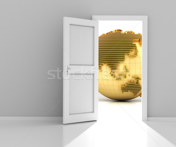Kapı finansal dünya 3d render altın Stok fotoğraf © ymgerman