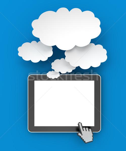 Dijital tablet düşünce kabarcıklar bo 3d render Stok fotoğraf © ymgerman